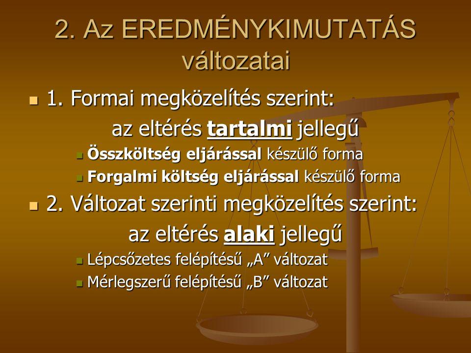 2. Az EREDMÉNYKIMUTATÁS változatai 1. Formai megközelítés szerint: 1. Formai megközelítés szerint: az eltérés tartalmi jellegű Összköltség eljárással