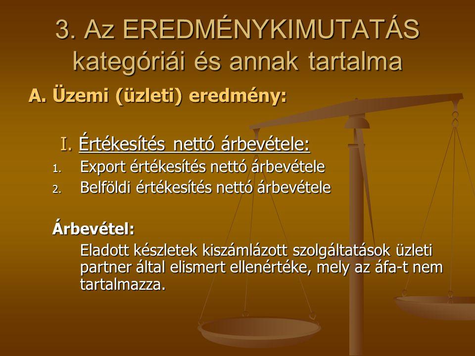 3. Az EREDMÉNYKIMUTATÁS kategóriái és annak tartalma A. Üzemi (üzleti) eredmény: I. Értékesítés nettó árbevétele: 1. Export értékesítés nettó árbevéte