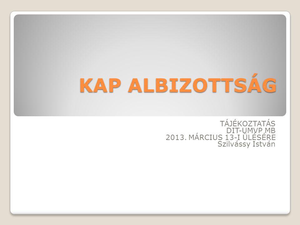 KAP ALBIZOTTSÁG ÜLÉSEK 2012.DECEMBER 7. MEGTARTVA 2013.
