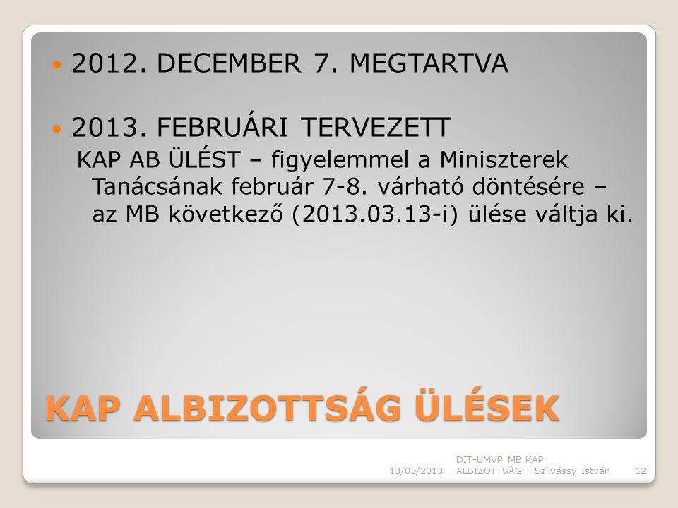 KAP ALBIZOTTSÁG ÜLÉSEK 2012. DECEMBER 7. MEGTARTVA 2013.