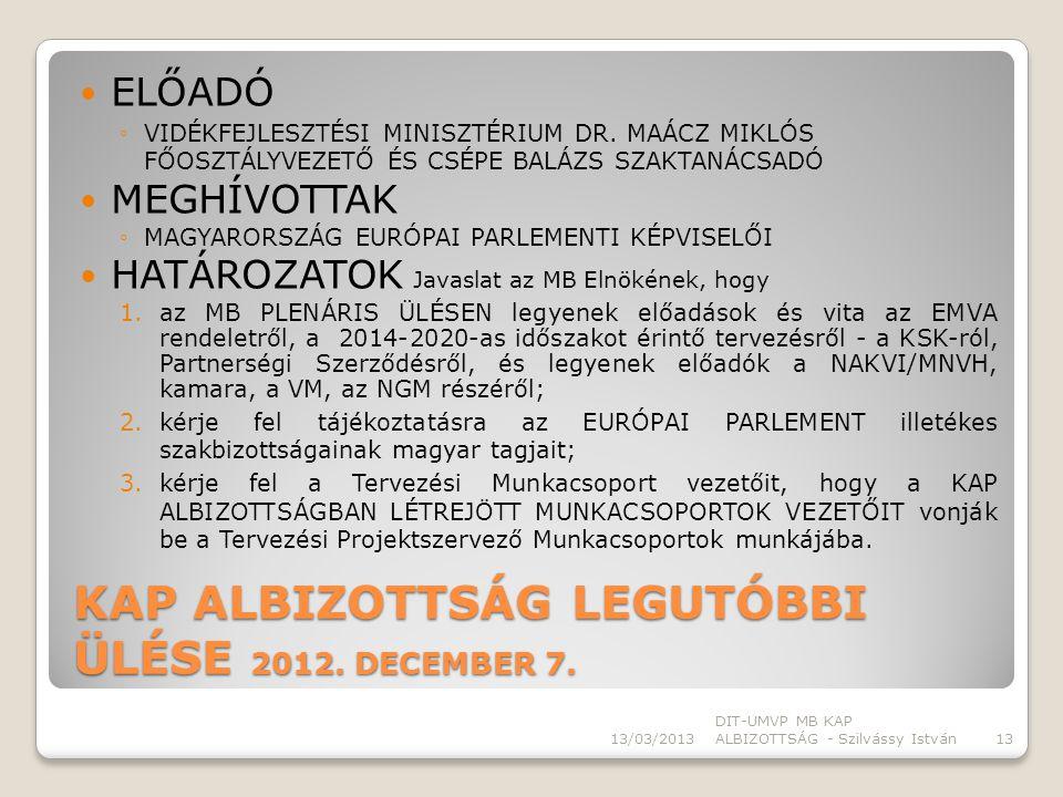 KAP ALBIZOTTSÁG LEGUTÓBBI ÜLÉSE 2012. DECEMBER 7.