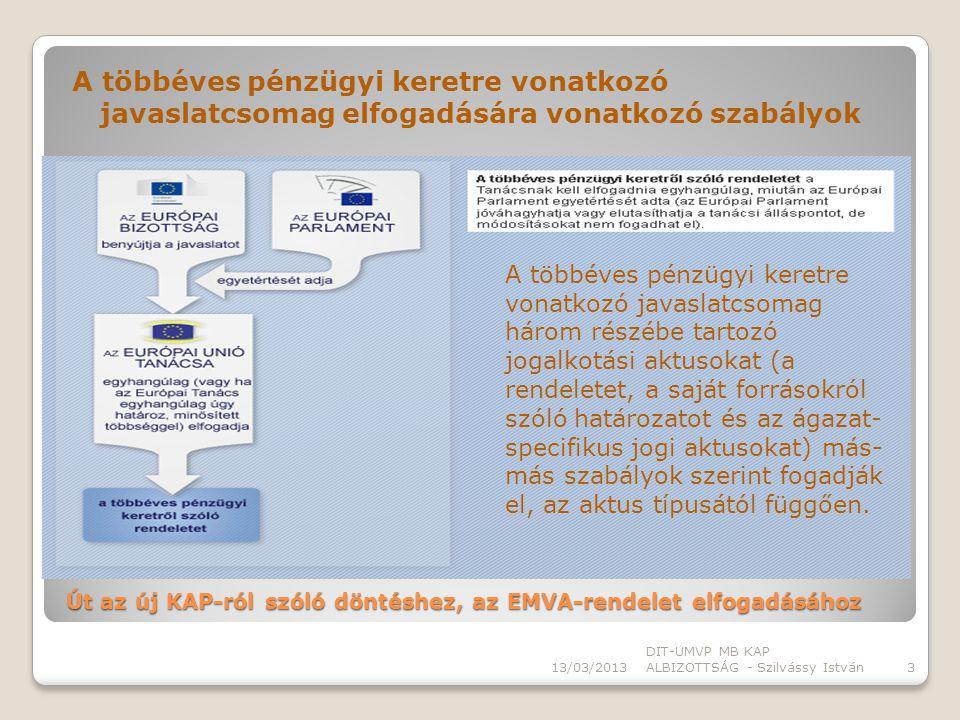 A többéves pénzügyi keretre vonatkozó javaslatcsomag elfogadására vonatkozó szabályok 13/03/2013 DIT-UMVP MB KAP ALBIZOTTSÁG - Szilvássy István3 Út az új KAP-ról szóló döntéshez, az EMVA-rendelet elfogadásához A többéves pénzügyi keretre vonatkozó javaslatcsomag három részébe tartozó jogalkotási aktusokat (a rendeletet, a saját forrásokról szóló határozatot és az ágazat- specifikus jogi aktusokat) más- más szabályok szerint fogadják el, az aktus típusától függően.