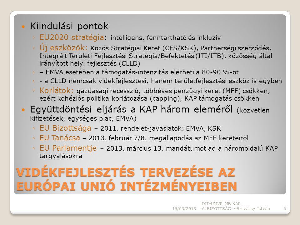 I.szakasz EU BIZOTTSÁGA elkészítette rendeletek javaslatát (EMVA) EU TANÁCSA 2013.
