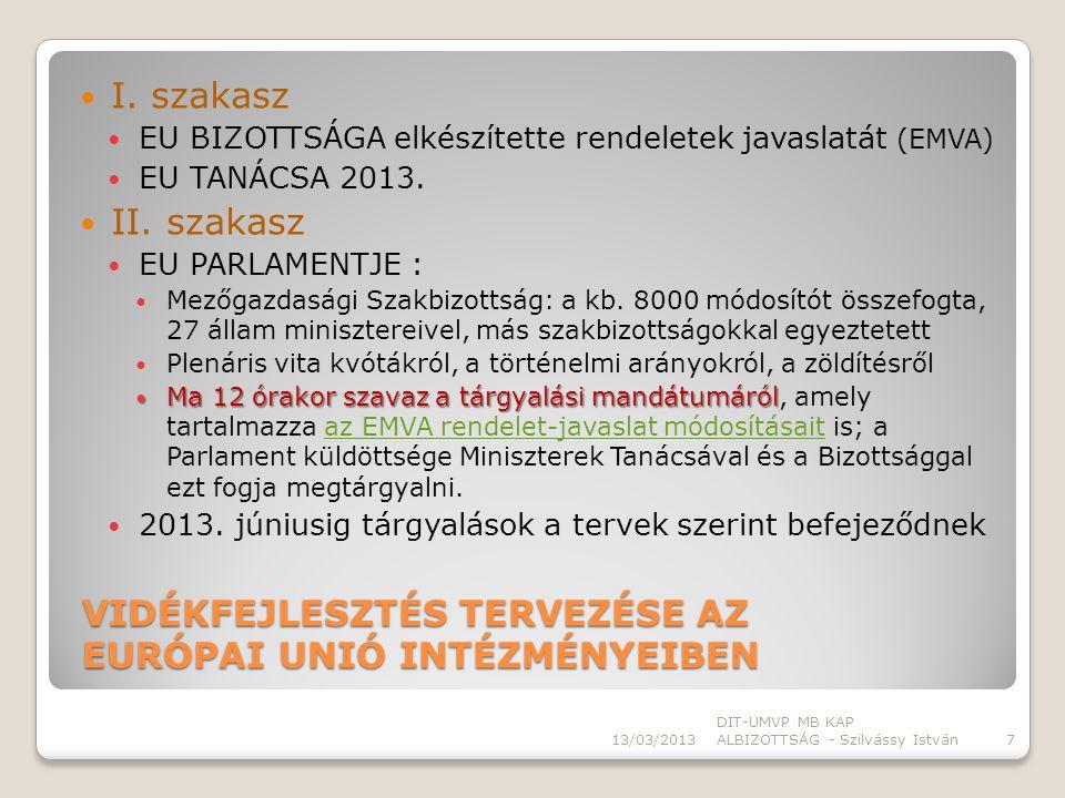 VIDÉKFEJLESZTÉS TERVEZÉSE MAGYARORSZÁGON 13/03/2013 DIT-UMVP MB KAP ALBIZOTTSÁG - Szilvássy István8 EU DÖNTÉSEK HAZAI STRUKTÚRA ÉS DÖNTÉSEK