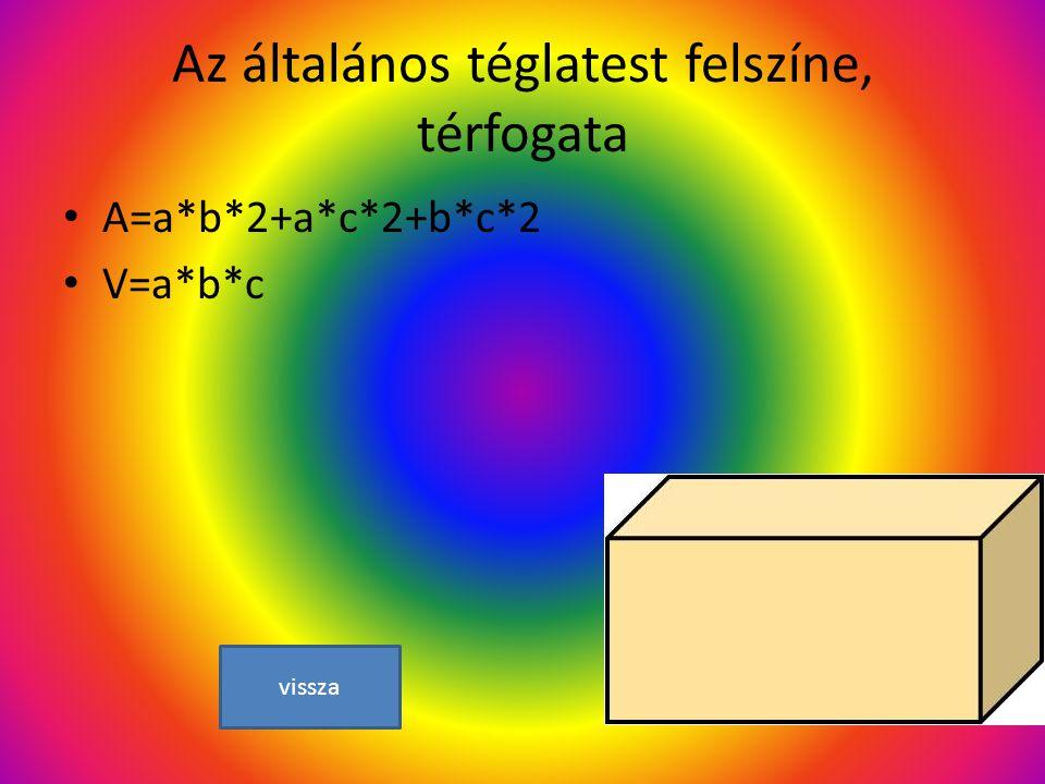 Az általános téglatest felszíne, térfogata A=a*b*2+a*c*2+b*c*2 V=a*b*c vissza