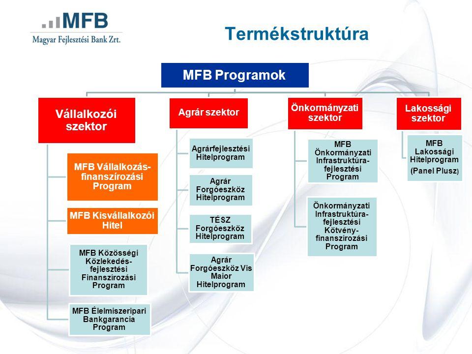 Értékesítési csatornák Közvetlen hitelezés 50 M HUF fölött Projektfinanszírozás Refinanszírozás Beruházási hitelprogramok Hitelintézetek Pénzügyi vállalkozások Közvetítői értékesítés 50 M HUF alatt MFB Kisvállalkozói Hitel