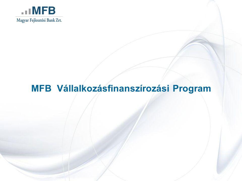 Legfontosabb hitelcélok: műszaki-, technológiai korszerűsítés, termelő infrastruktúra-fejlesztés, kereskedelemmel összefüggő fejlesztések Új Széchenyi Terv céljai: gyógyító Magyarország, zöldgazdaság, vállalkozásfejlesztés, otthonteremtés, innováció, foglalkoztatás MFB Vállalkozásfinanszírozási Program