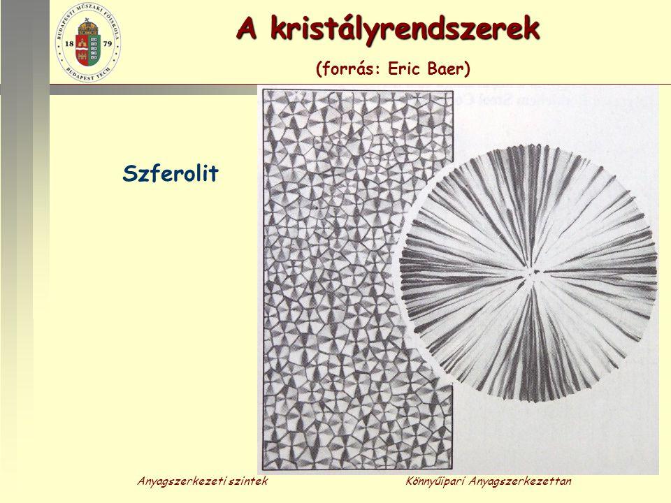 Anyagszerkezeti szintekKönnyűipari Anyagszerkezettan A kristályrendszerek A kristályrendszerek (forrás: Eric Baer) Szferolit