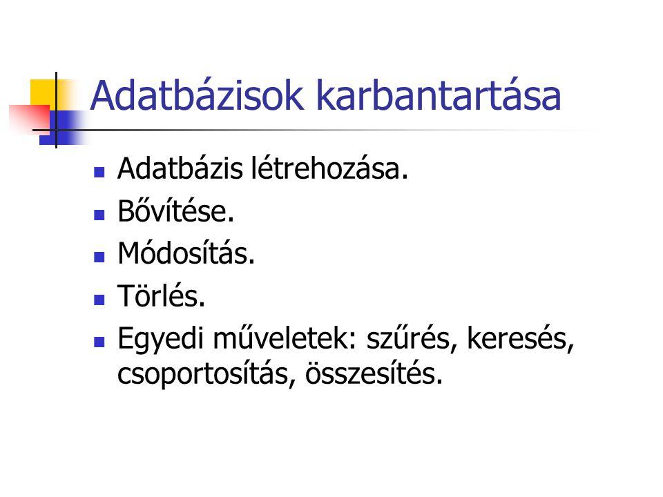 Adatbázisok karbantartása Adatbázis létrehozása. Bővítése.