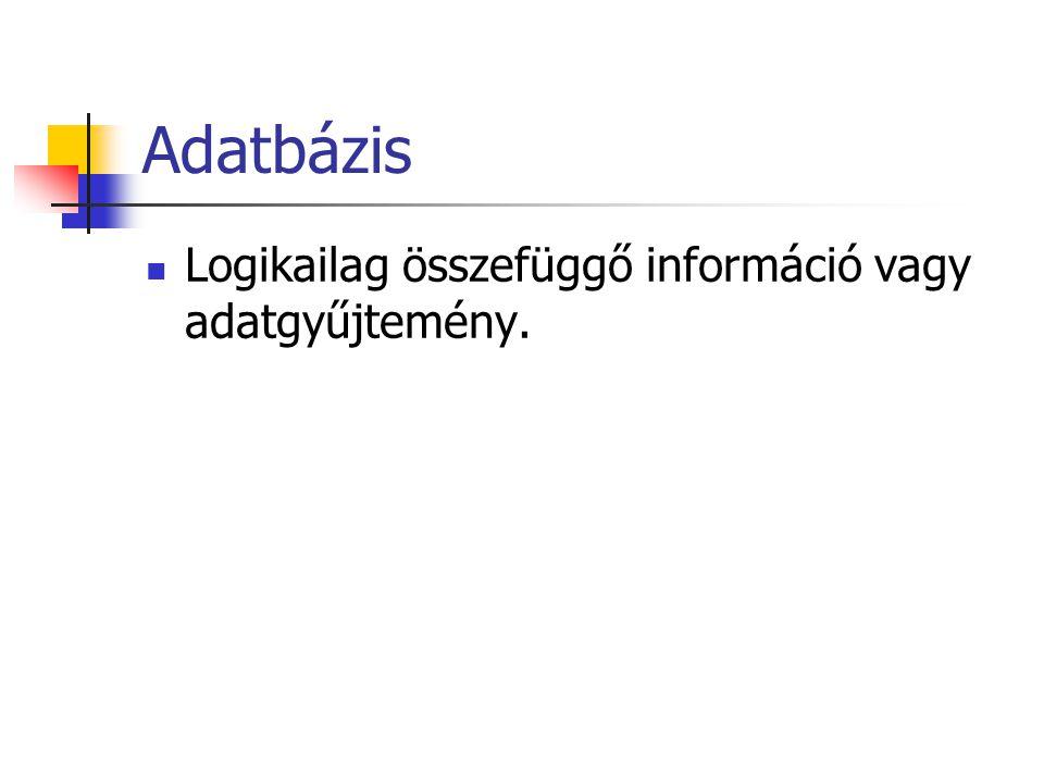 Adatbázis Logikailag összefüggő információ vagy adatgyűjtemény.