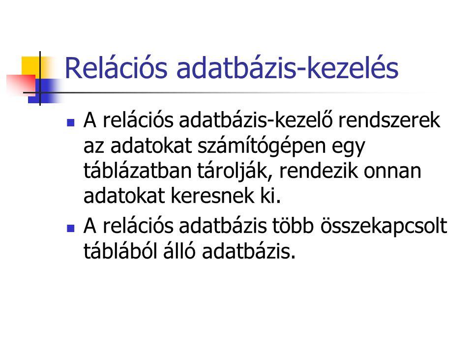 Relációs adatbázis-kezelés A relációs adatbázis-kezelő rendszerek az adatokat számítógépen egy táblázatban tárolják, rendezik onnan adatokat keresnek ki.