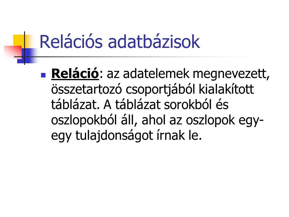 Relációs adatbázisok Reláció: az adatelemek megnevezett, összetartozó csoportjából kialakított táblázat.