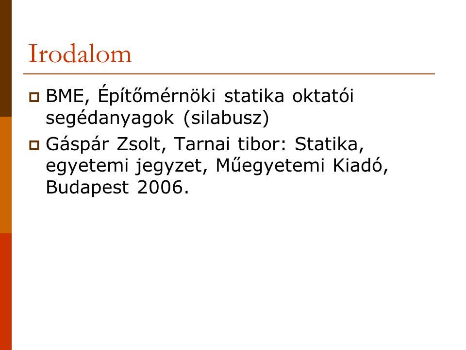 Irodalom  BME, Építőmérnöki statika oktatói segédanyagok (silabusz)  Gáspár Zsolt, Tarnai tibor: Statika, egyetemi jegyzet, Műegyetemi Kiadó, Budapest 2006.