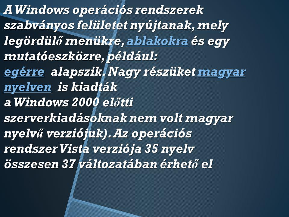 A Windows operációs rendszerek szabványos felületet nyújtanak, mely legördülő menükre, ablakokra és egy mutatóeszközre, például: egérre alapszik.