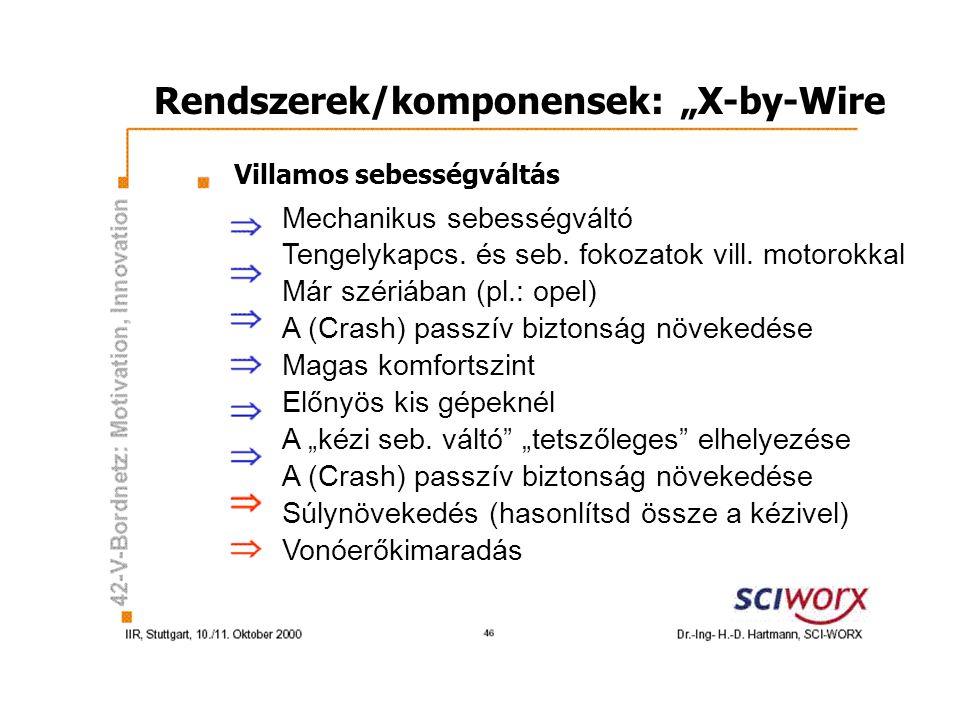 """Rendszerek/komponensek: """"X-by-Wire Villamos sebességváltás Mechanikus sebességváltó Tengelykapcs."""