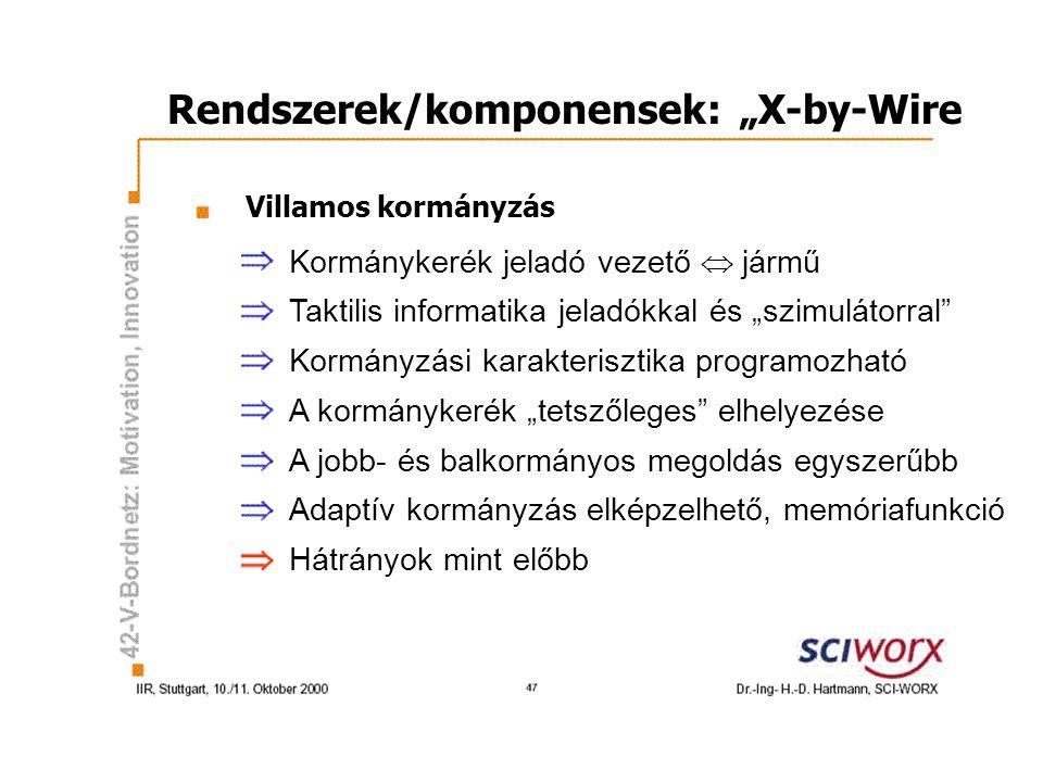 """Rendszerek/komponensek: """"X-by-Wire Villamos kormányzás Kormánykerék jeladó vezető  jármű Taktilis informatika jeladókkal és """"szimulátorral Kormányzási karakterisztika programozható A kormánykerék """"tetszőleges elhelyezése A jobb- és balkormányos megoldás egyszerűbb Adaptív kormányzás elképzelhető, memóriafunkció Hátrányok mint előbb"""