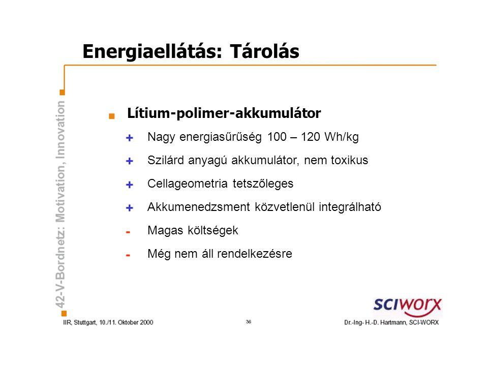 Energiaellátás: Tárolás Lítium-polimer-akkumulátor Nagy energiasűrűség 100 – 120 Wh/kg Szilárd anyagú akkumulátor, nem toxikus Cellageometria tetszőleges Akkumenedzsment közvetlenül integrálható Magas költségek Még nem áll rendelkezésre