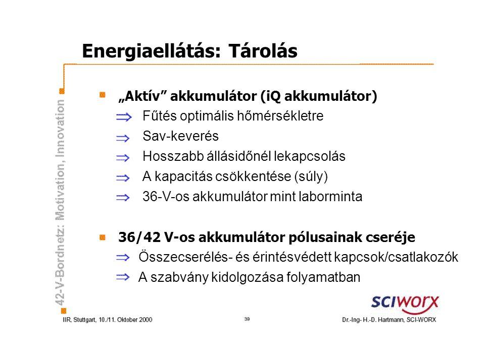 """Energiaellátás: Tárolás """"Aktív akkumulátor (iQ akkumulátor) 36/42 V-os akkumulátor pólusainak cseréje Fűtés optimális hőmérsékletre Sav-keverés Hosszabb állásidőnél lekapcsolás A kapacitás csökkentése (súly) 36-V-os akkumulátor mint laborminta Összecserélés- és érintésvédett kapcsok/csatlakozók A szabvány kidolgozása folyamatban"""