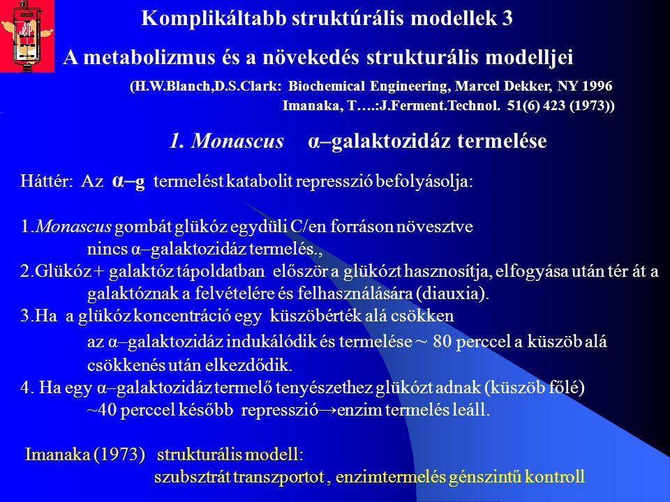 Komplikáltabb struktúrális modellek 3 A metabolizmus és a növekedés strukturális modelljei (H.W.Blanch,D.S.Clark: Biochemical Engineering, Marcel Dekk