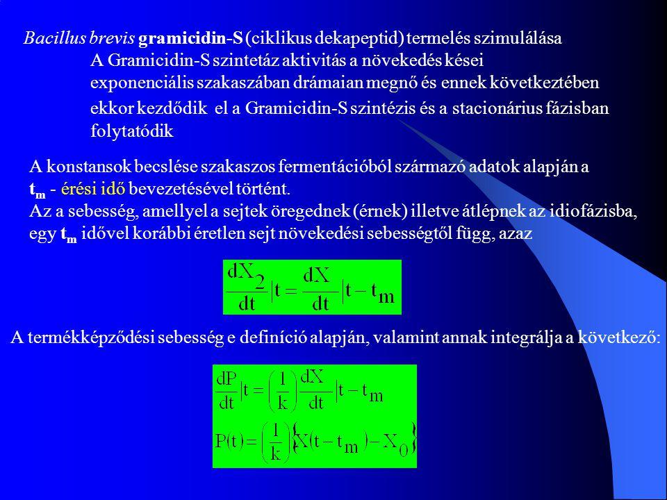 Bacillus brevis gramicidin-S (ciklikus dekapeptid) termelés szimulálása A Gramicidin-S szintetáz aktivitás a növekedés kései exponenciális szakaszában