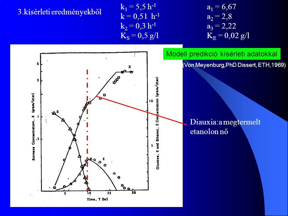 k 1 = 5,5 h -1 a 1 = 6,67 k = 0,51 h -1 a 2 = 2,8 k 2 = 0,3 h -1 a 3 = 2,22 K S = 0,5 g/lK E = 0,02 g/l 3.kísérleti eredményekből Modell predikció kís