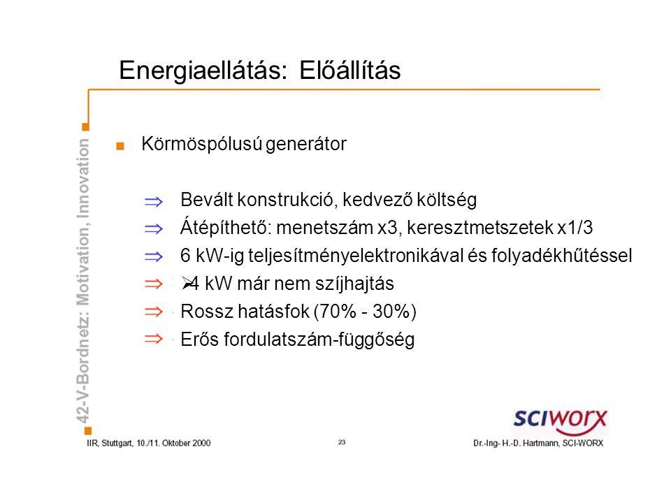 Energiaellátás: Előállítás Körmöspólusú generátor Bevált konstrukció, kedvező költség Átépíthető: menetszám x3, keresztmetszetek x1/3 6 kW-ig teljesít