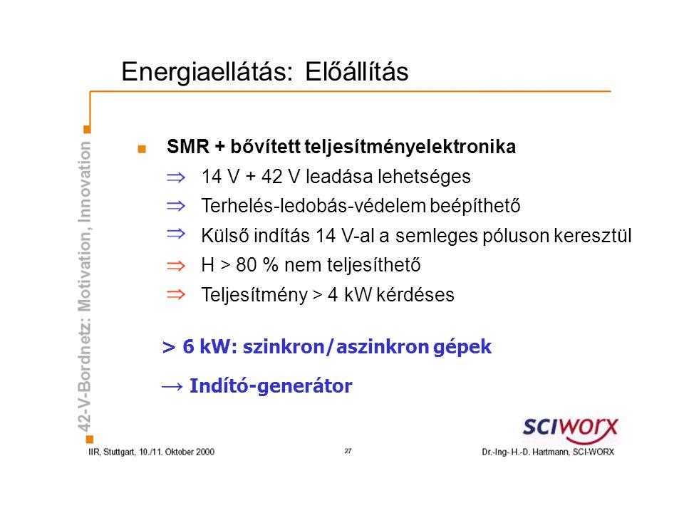 Energiaellátás: Előállítás SMR + bővített teljesítményelektronika 14 V + 42 V leadása lehetséges Terhelés-ledobás-védelem beépíthető Külső indítás 14