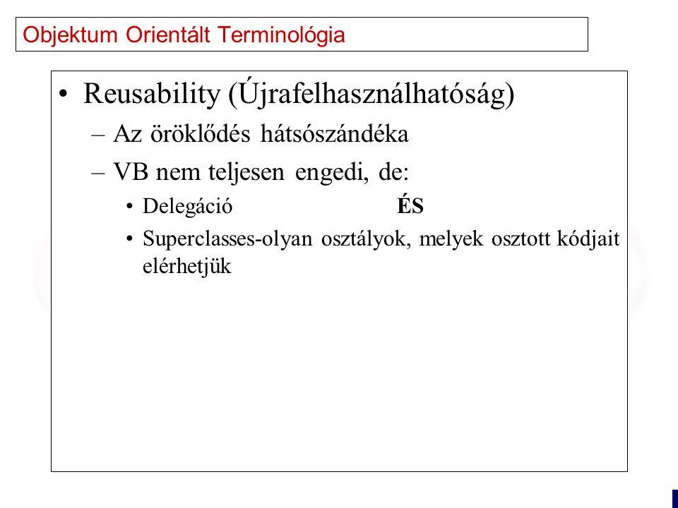 8 Objektum Orientált Terminológia Reusability (Újrafelhasználhatóság) –Az öröklődés hátsószándéka –VB nem teljesen engedi, de: Delegáció ÉS Superclasses-olyan osztályok, melyek osztott kódjait elérhetjük