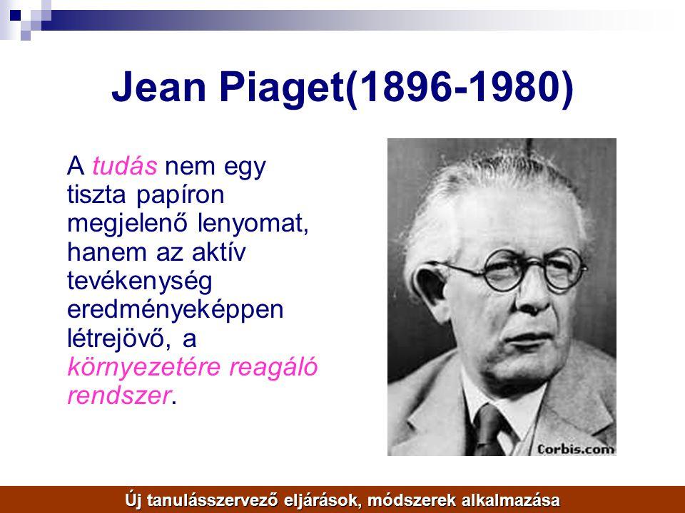 Jean Piaget(1896-1980) A tudás nem egy tiszta papíron megjelenő lenyomat, hanem az aktív tevékenység eredményeképpen létrejövő, a környezetére reagáló