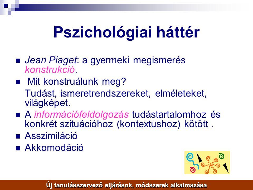 Pszichológiai háttér Jean Piaget: a gyermeki megismerés konstrukció. Mit konstruálunk meg? Tudást, ismeretrendszereket, elméleteket, világképet. A inf