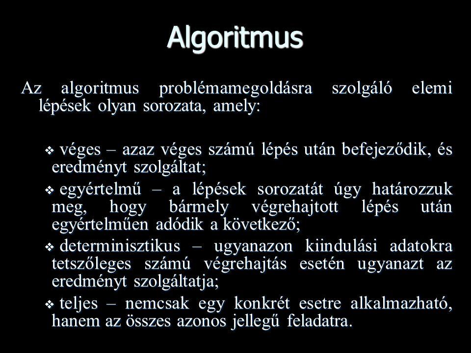Algoritmus Az algoritmus problémamegoldásra szolgáló elemi lépések olyan sorozata, amely:  véges – azaz véges számú lépés után befejeződik, és eredmé