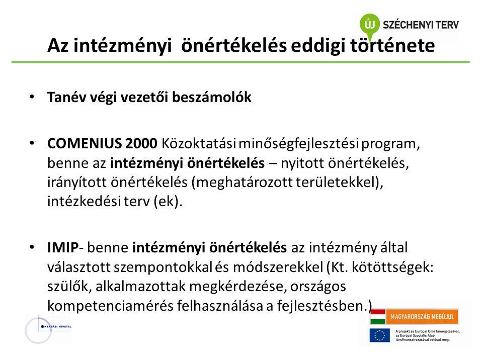 Az intézményi önértékelés eddigi története Tanév végi vezetői beszámolók COMENIUS 2000 Közoktatási minőségfejlesztési program, benne az intézményi öné