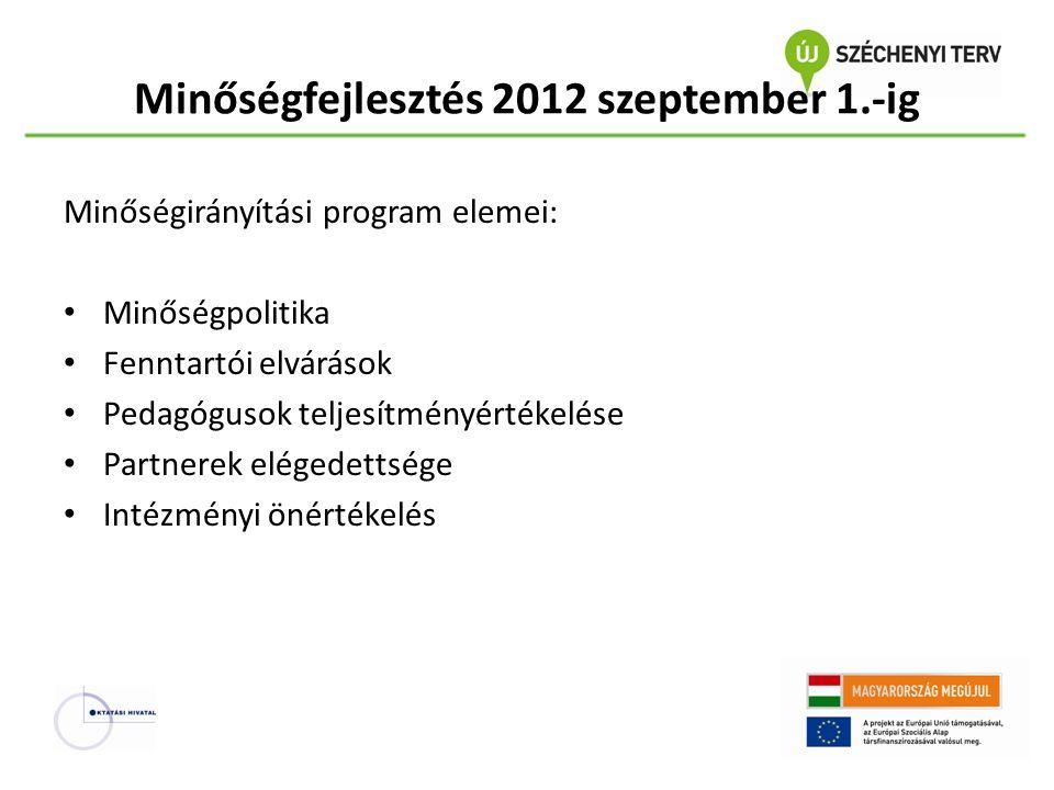 Minőségfejlesztés 2012 szeptember 1.-ig Minőségirányítási program elemei: Minőségpolitika Fenntartói elvárások Pedagógusok teljesítményértékelése Part