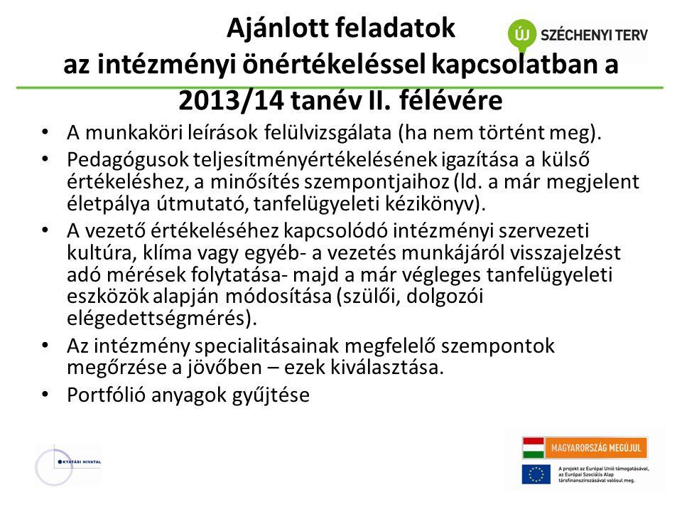 Ajánlott feladatok az intézményi önértékeléssel kapcsolatban a 2013/14 tanév II. félévére A munkaköri leírások felülvizsgálata (ha nem történt meg). P