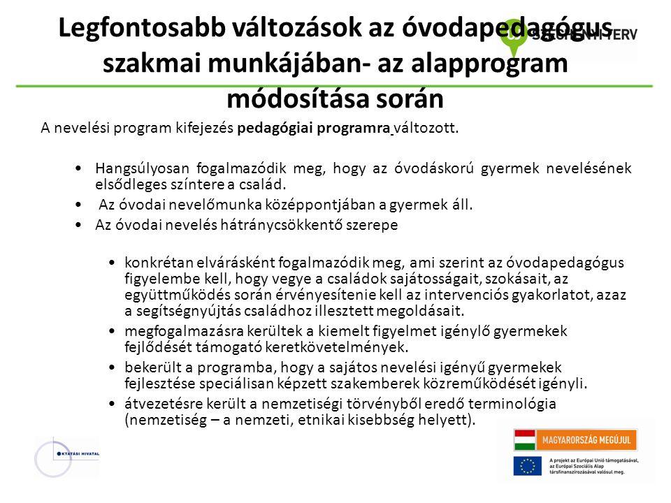 Legfontosabb változások az óvodapedagógus szakmai munkájában- az alapprogram módosítása során A nevelési program kifejezés pedagógiai programra változ