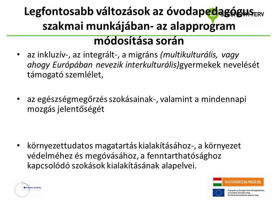 Legfontosabb változások az óvodapedagógus szakmai munkájában- az alapprogram módosítása során az inkluzív-, az integrált-, a migráns (multikulturális,