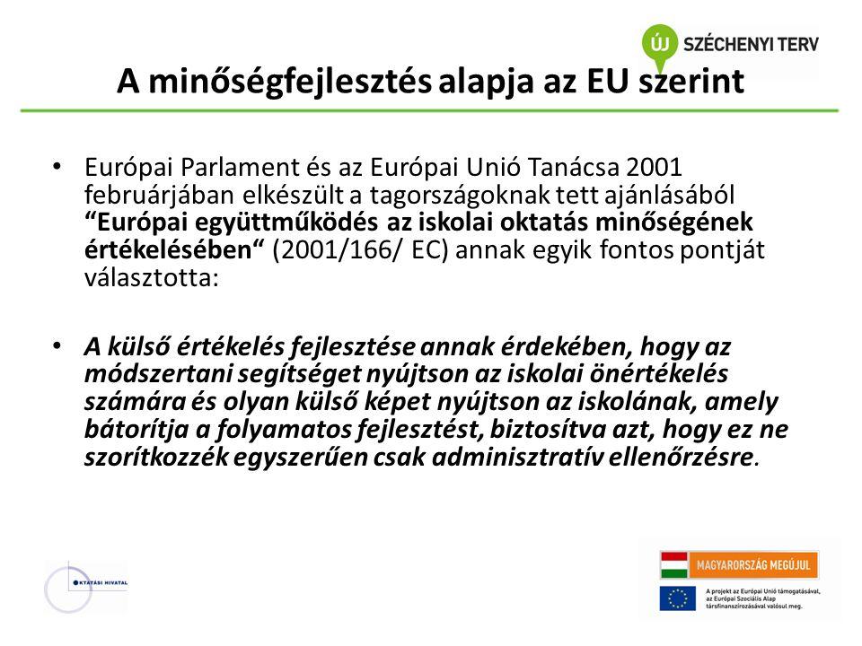 """A minőségfejlesztés alapja az EU szerint Európai Parlament és az Európai Unió Tanácsa 2001 februárjában elkészült a tagországoknak tett ajánlásából """"E"""