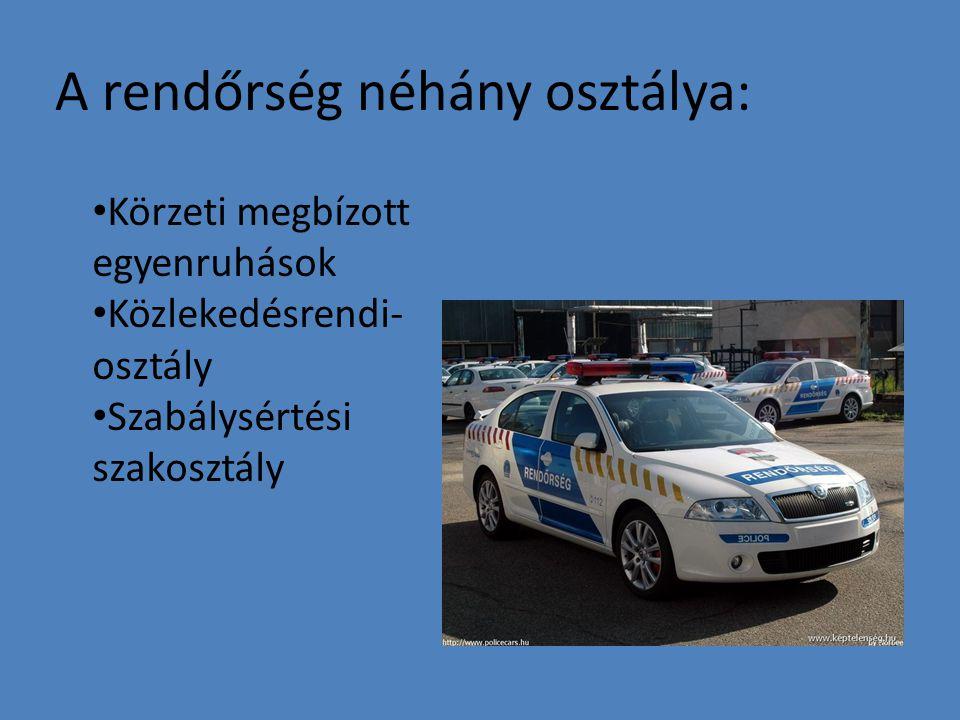 A rendőrség néhány osztálya: Körzeti megbízott egyenruhások Közlekedésrendi- osztály Szabálysértési szakosztály