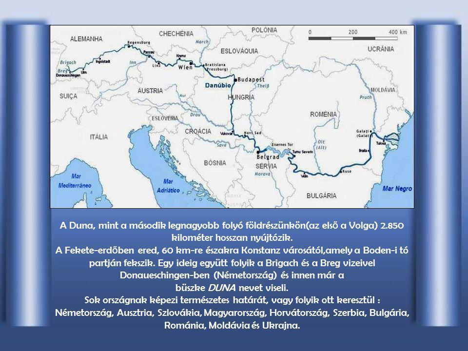 A Duna, mint a második legnagyobb folyó földrészünkön(az els ő a Volga) 2.850 kilométer hosszan nyújtózik.