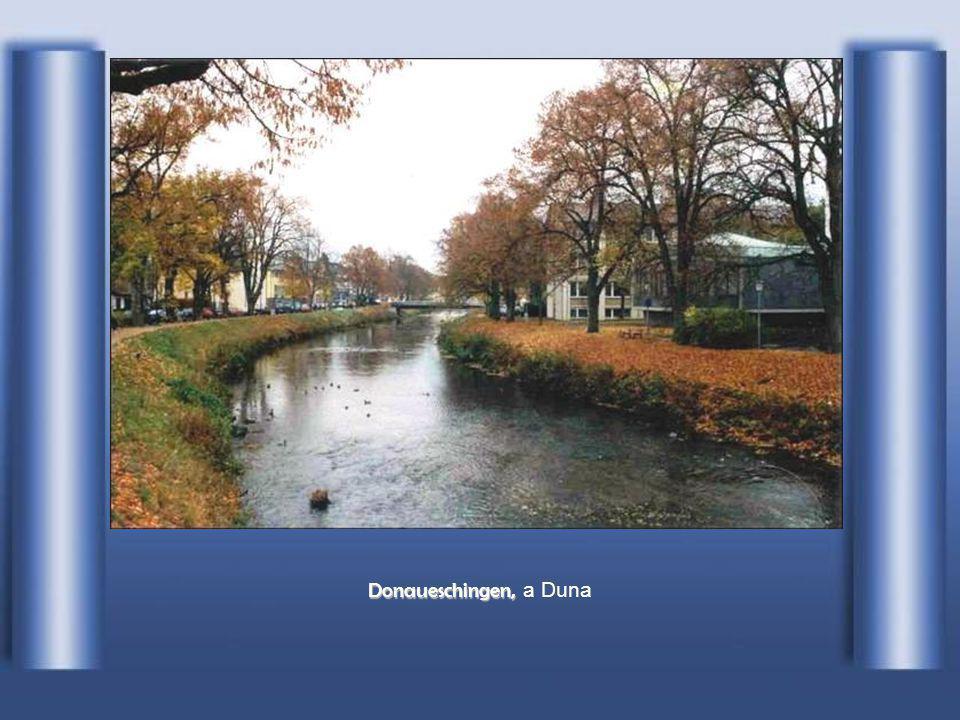 A Brigach (balról) és a Breg (jobbról) összefolyása és a Duna kezdete (középen) Donaueschingen-nél (Németország)