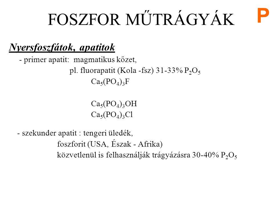 Nyersfoszfátok, apatitok - primer apatit: magmatikus kőzet, pl.