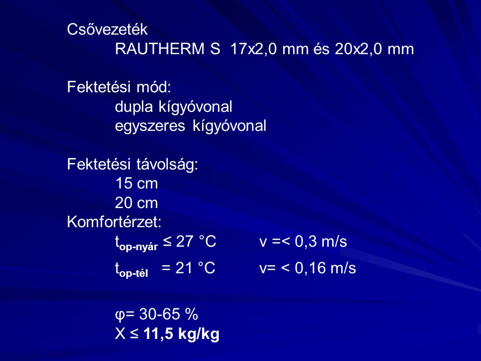 Csővezeték RAUTHERM S 17x2,0 mm és 20x2,0 mm Fektetési mód: dupla kígyóvonal egyszeres kígyóvonal Fektetési távolság: 15 cm 20 cm Komfortérzet: t op-nyár ≤ 27 °Cv =< 0,3 m/s t op-tél = 21 °Cv= < 0,16 m/s φ= 30-65 % X ≤ 11,5 kg/kg