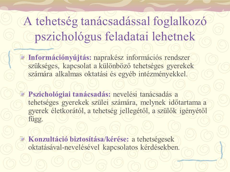 A tehetség tanácsadással foglalkozó pszichológus feladatai lehetnek Információnyújtás: naprakész információs rendszer szükséges, kapcsolat a különböző