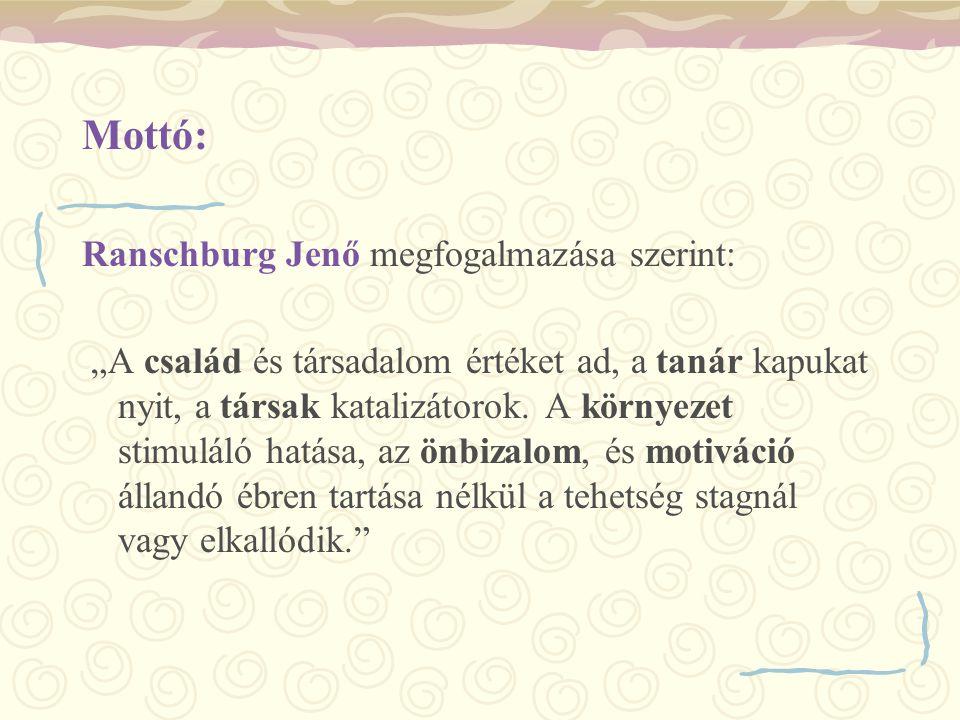 """Mottó: Ranschburg Jenő megfogalmazása szerint: """"A család és társadalom értéket ad, a tanár kapukat nyit, a társak katalizátorok. A környezet stimuláló"""