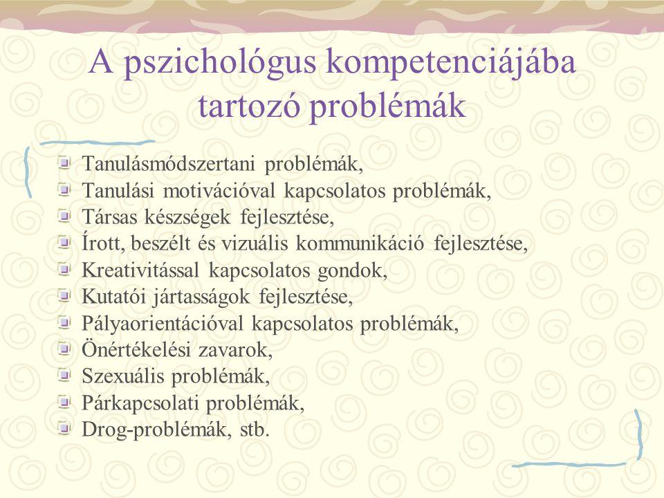 A pszichológus kompetenciájába tartozó problémák Tanulásmódszertani problémák, Tanulási motivációval kapcsolatos problémák, Társas készségek fejleszté