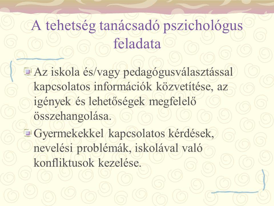 A tehetség tanácsadó pszichológus feladata Az iskola és/vagy pedagógusválasztással kapcsolatos információk közvetítése, az igények és lehetőségek megf