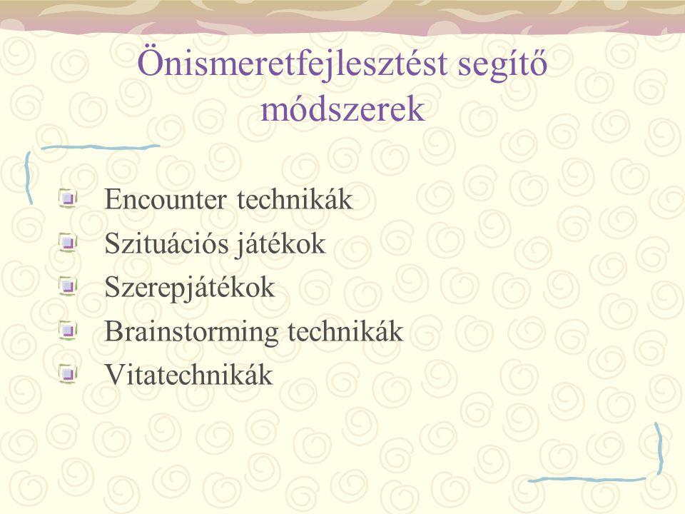Önismeretfejlesztést segítő módszerek Encounter technikák Szituációs játékok Szerepjátékok Brainstorming technikák Vitatechnikák