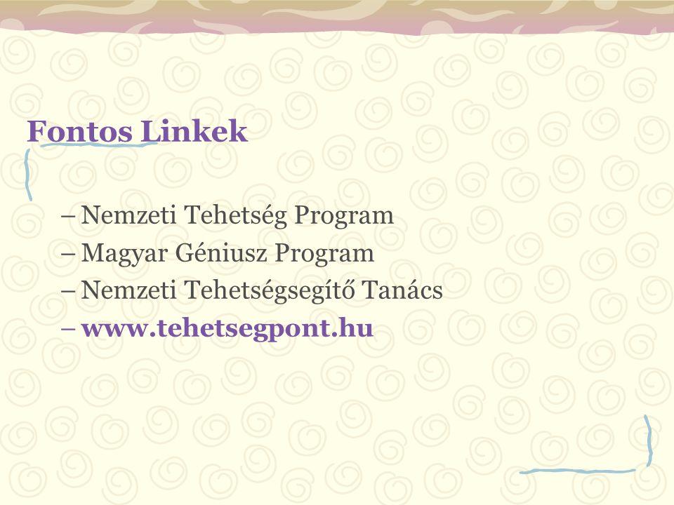 Fontos Linkek –Nemzeti Tehetség Program –Magyar Géniusz Program –Nemzeti Tehetségsegítő Tanács –www.tehetsegpont.hu