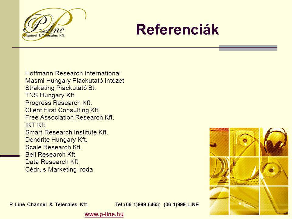 Referenciák Hoffmann Research International Masmi Hungary Piackutató Intézet Straketing Piackutató Bt. TNS Hungary Kft. Progress Research Kft. Client