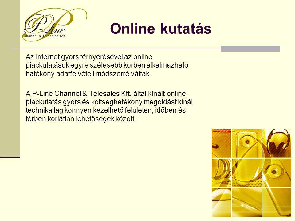 Online kutatás Az internet gyors térnyerésével az online piackutatások egyre szélesebb körben alkalmazható hatékony adatfelvételi módszerré váltak. A